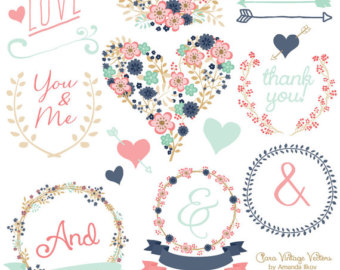 Wedding clipart modern Wedding Vectors Chic Clip Floral