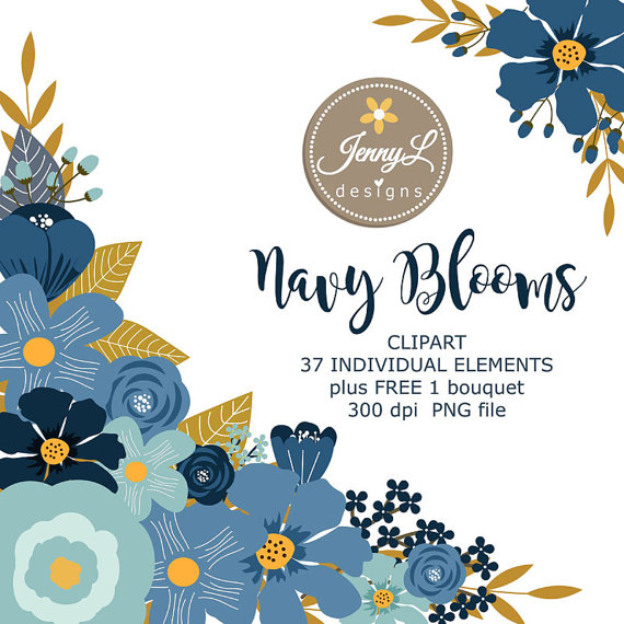 Floral clipart navy blue Blue Flowers Flower Navy Clipart