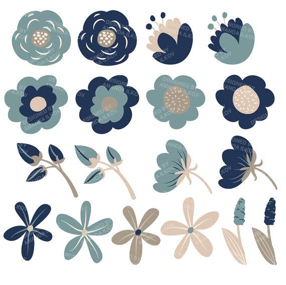 Floral clipart navy blue Blue ◅ Flower Vectors Navy