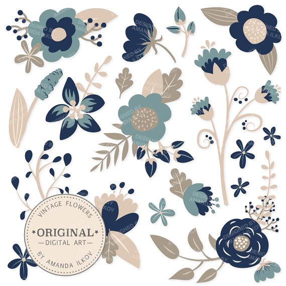 Floral clipart navy blue Floral Premium Vectors Vectors Blue