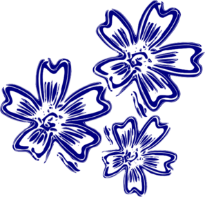 Floral clipart navy blue Online vector Flowers art clip