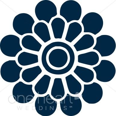 Pink Flower clipart blue flower Color Modern Flower Navy Modern
