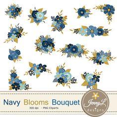 Floral clipart navy blue  Wedding JennyLDesignsShop JennyLDesignsShop by