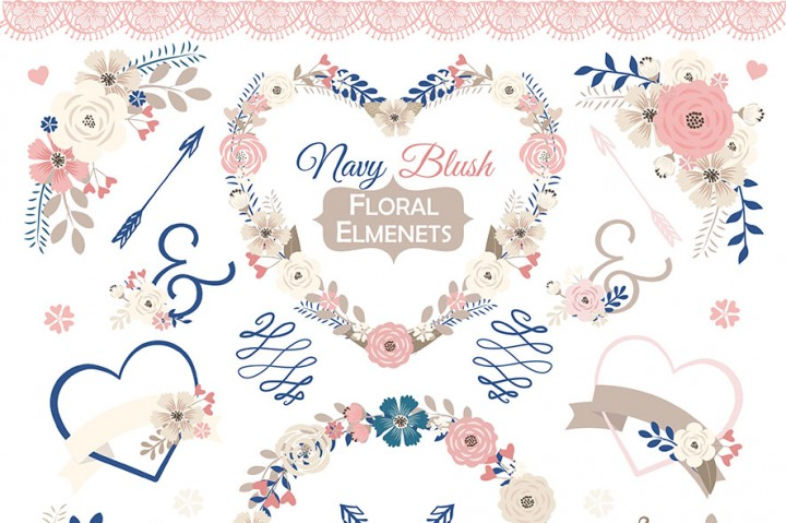 Floral clipart navy blue Floral Vector Floral Pink clipart