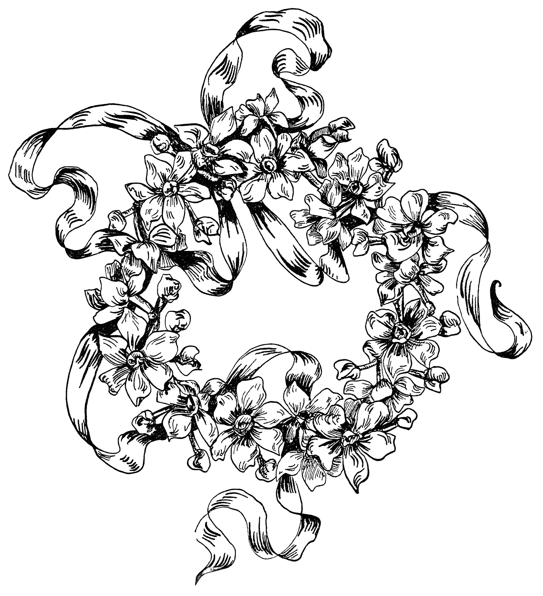 Drawn ornamental black and white Ornamental black clipart clipart flower