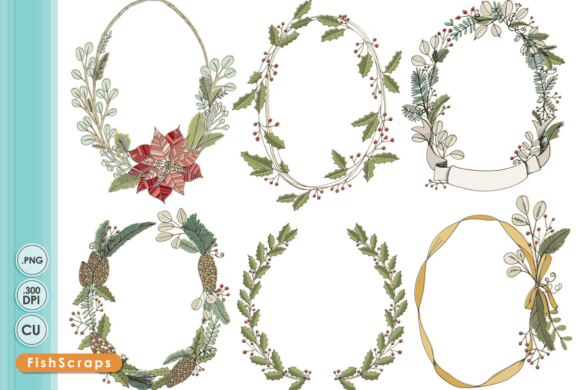 Floral clipart oval ~ & Christmas Rope Wreath