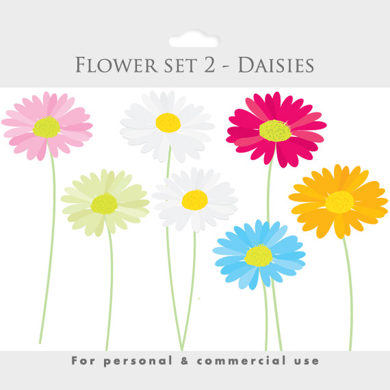 Floral clipart pink flower Daisies file clip  digital