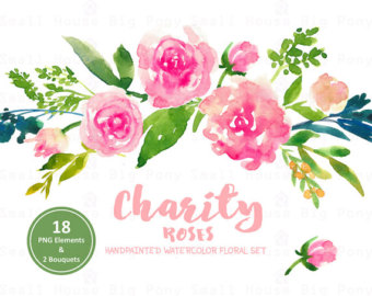 Bouquet clipart pink rose bouquet Floral Watercolor roses Digital Clipart