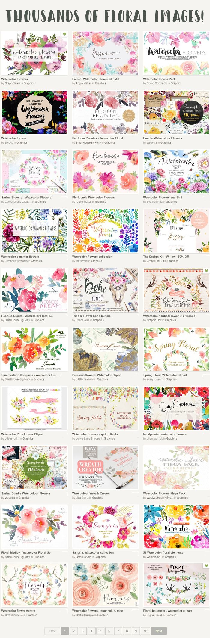 Floral clipart pretty flower Digital flowers art Scrapbook Pinterest