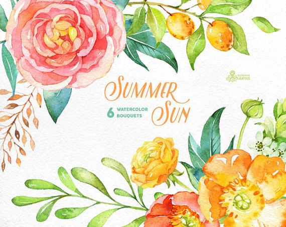 Ranuncula clipart mint flower Sun flowers Bouquets invitation popies