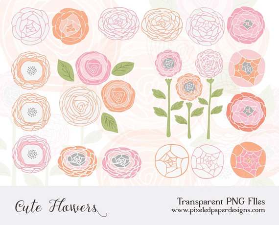 Ranuncula clipart floral ring Pink Flowers scrapbooking invites leaves