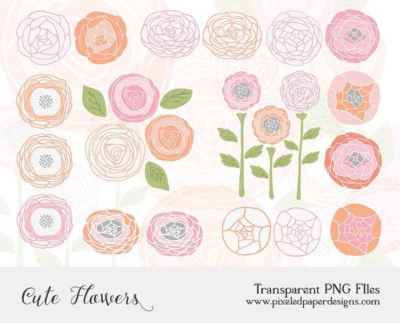 Floral clipart ranunculus Invites art: Clip Pink leaves