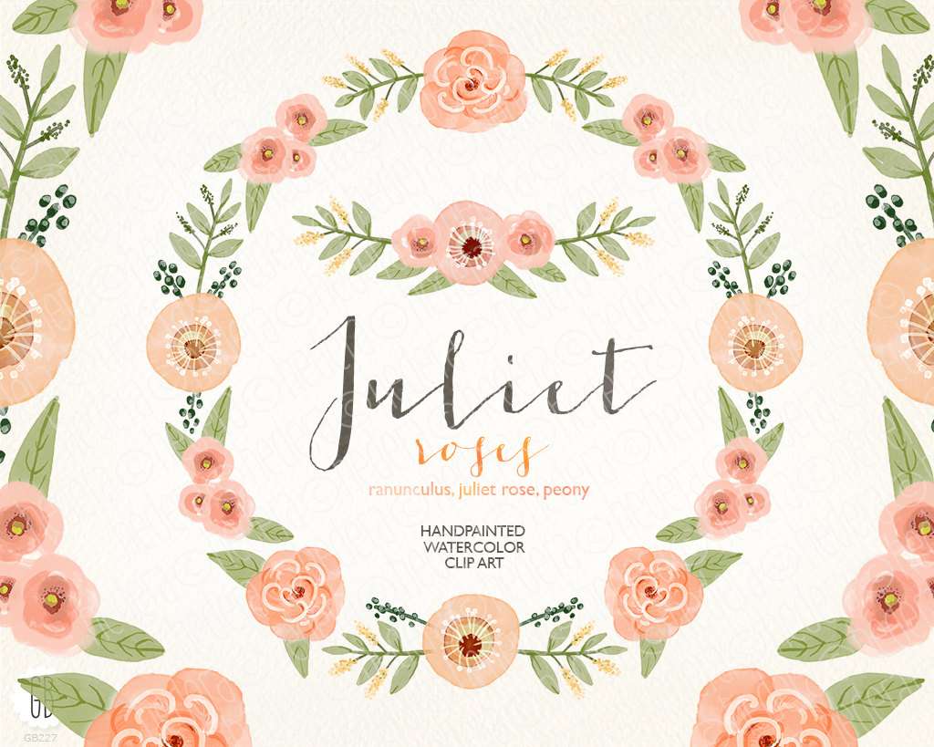 Peach Flower clipart vintage flower Watercolor coral  peony wreath