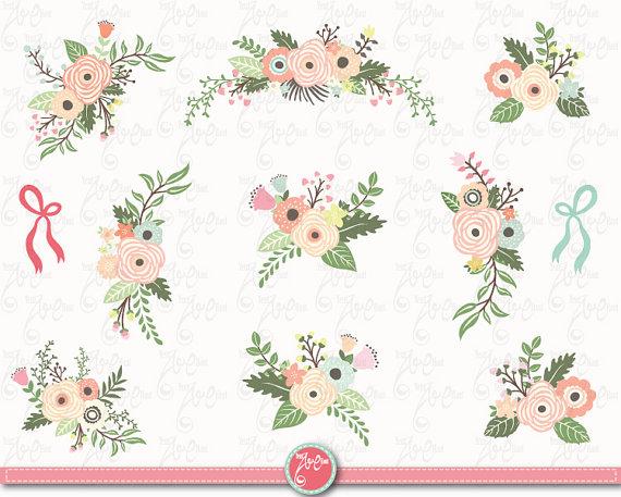 Floral clipart retro flower FLORAL files BOUQUET