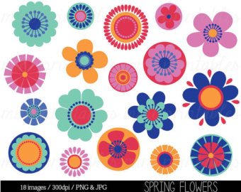 Floral clipart retro flower Art Bright Flowers flowers Clipart