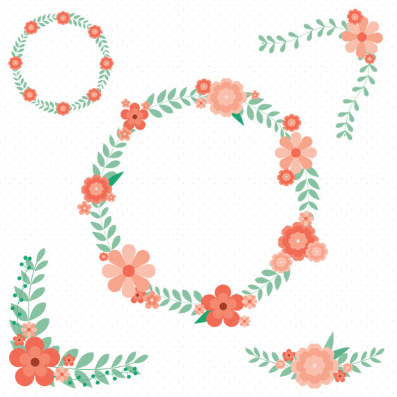 Floral clipart retro flower Flower Clip Wreath Wreath Clipart