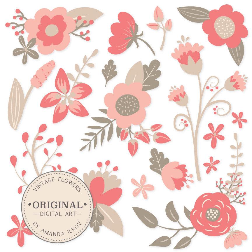 Floral clipart retro flower Vintage Floral Clipart item? &