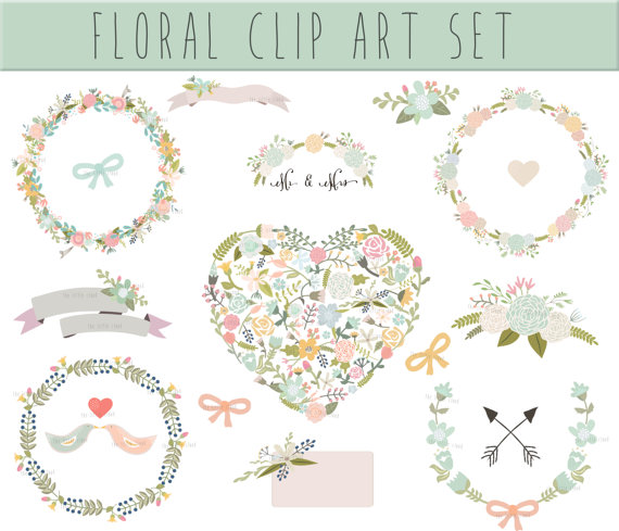 Wreath clipart ribbon Digital Floral Floral art de