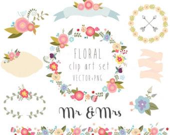 Vintage Flower clipart rustic flower  clip art Blog wedding