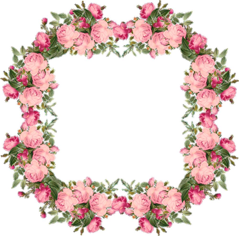 Floral clipart rose border Pink border – vintage png