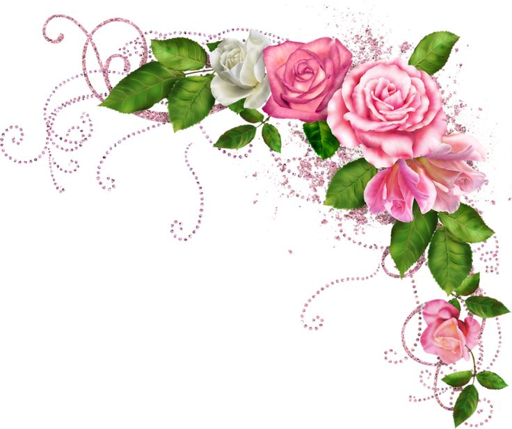 Floral clipart rose border Best Фотки on Corners PSP