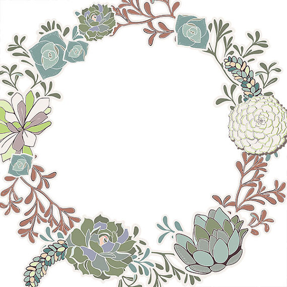 Wreath clipart border Floral Borders Succulent  Digital