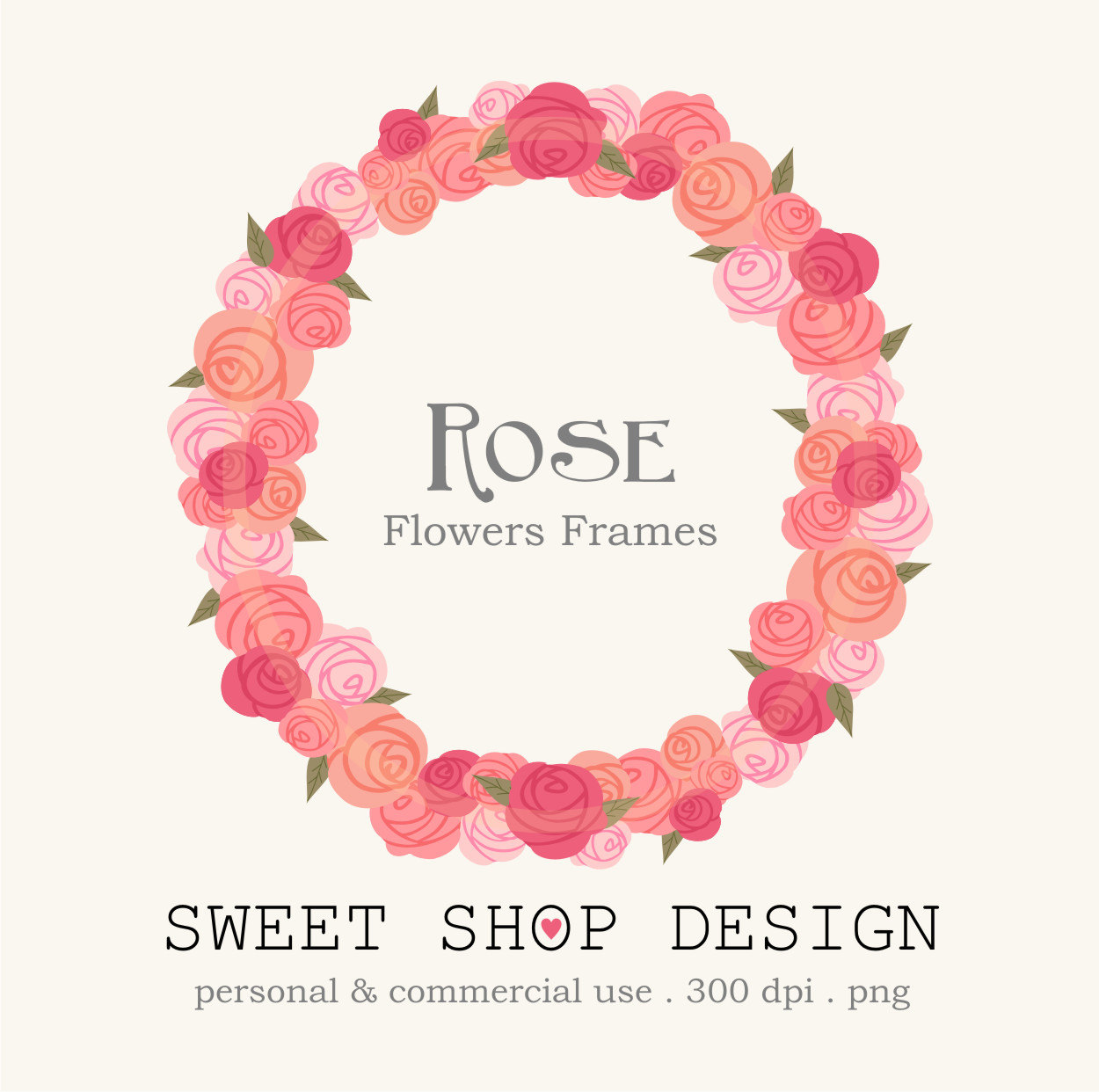 Floral clipart round flower frame Free on Art Etsy clipart