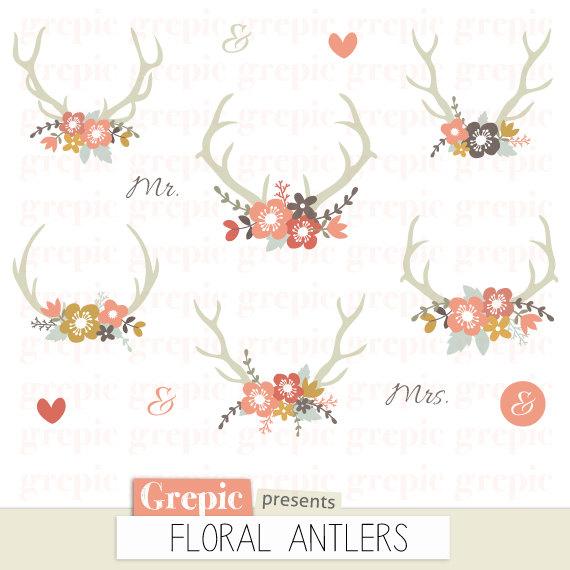 Vintage Flower clipart rustic flower Wedding clipart clip clipart antler