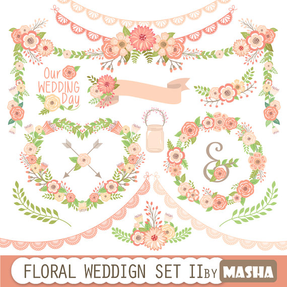 Pink Flower clipart flower garland Clipart WEDDING clipart with
