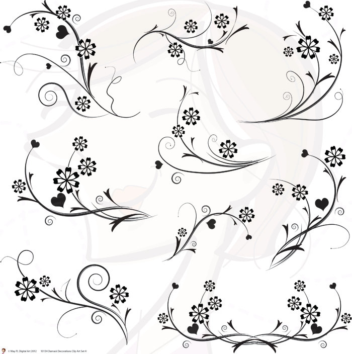 Damask clipart swirly Clipart Black Wedding COMMERCIAL Scrapbook