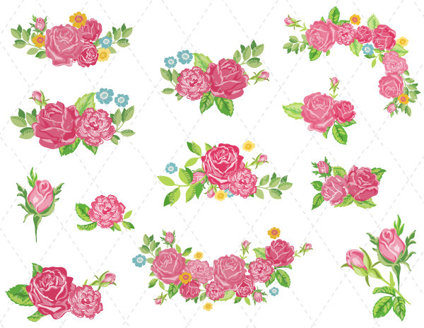 Vintage Flower clipart flower cluster Pink Clipart Clipart Flower wedding