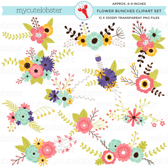 Floral clipart small flower Set florals flower groups clusters