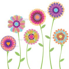 Floral clipart small flower Clipart collage $4 50 Chevron