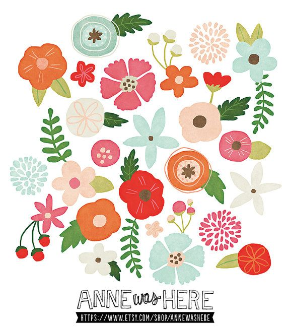 Floral clipart small flower Art Painted on Digital Pinterest