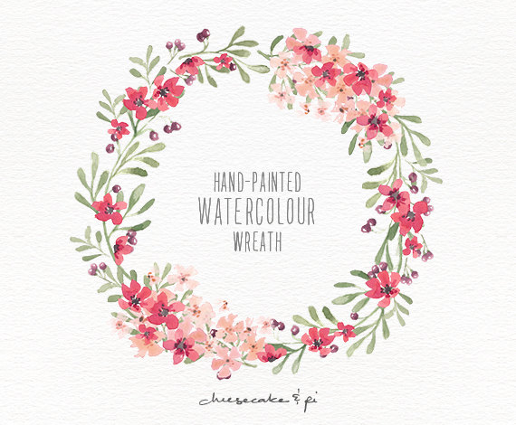 Wreath clipart watercolor Painted berries hand wreath wreath: