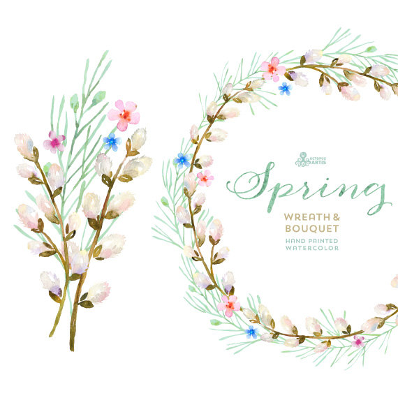 Wreath clipart spring wreath Wreath & wedding watercolor Bouquet