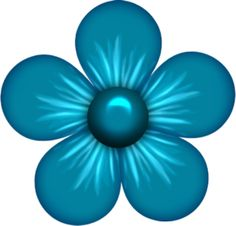 Blue Flower clipart teal flower Element  ~*♣️️Flower (10) (953×946)