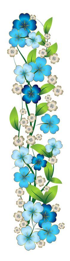 Blue Flower clipart horizontal flower border Border to Free Celebrate Floral