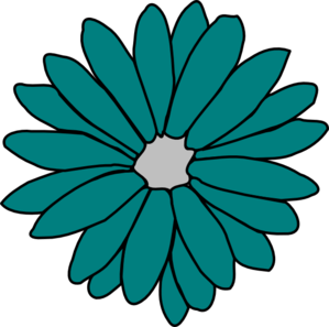 Blue Flower clipart teal flower Green art at  Flower