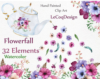 Floral clipart teapot Flowers Watercolor ON clipart Clip
