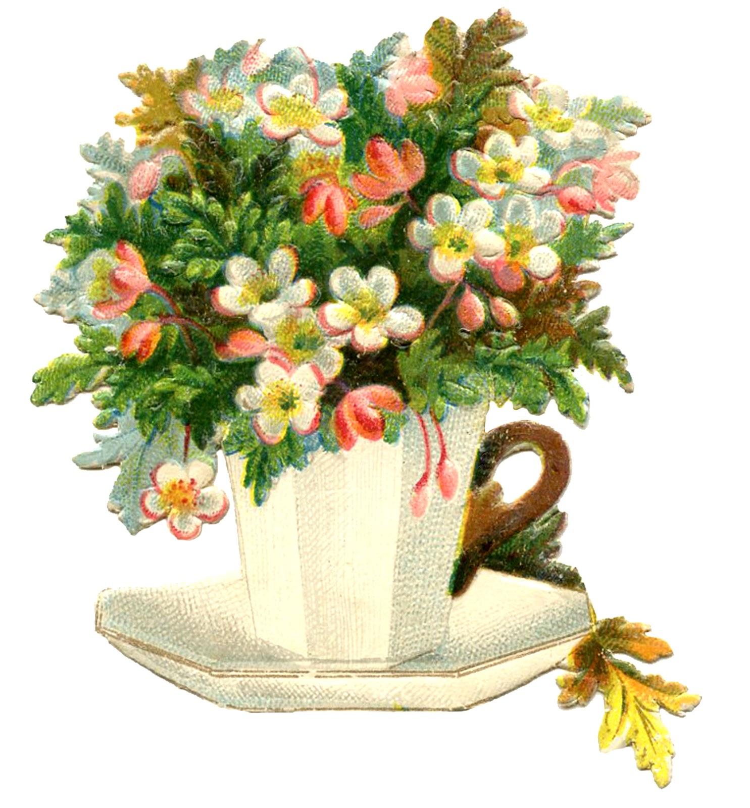 Floral clipart teapot Mother's Image  Flowers Vintage