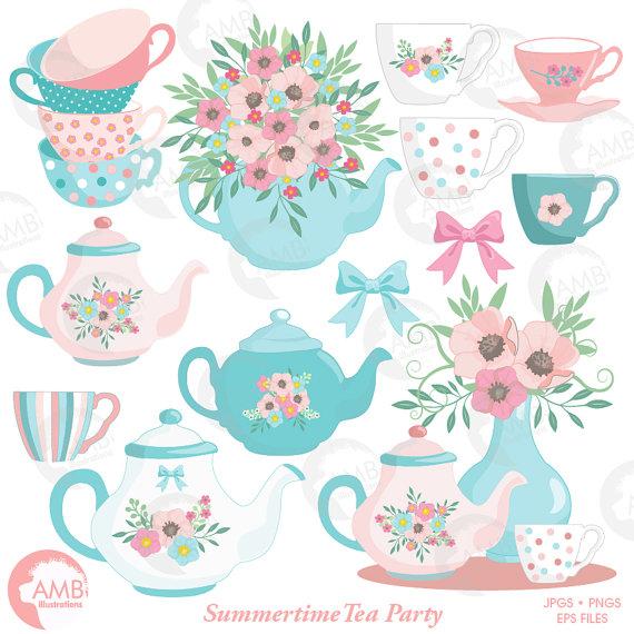 Floral clipart teapot Floral Time Teapot Tea Time