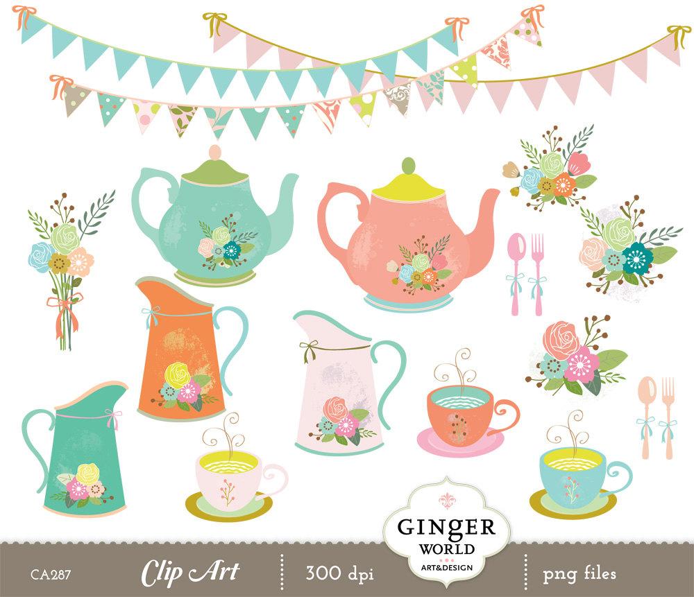 Floral clipart teapot Teapot garden Rustic Garden vase
