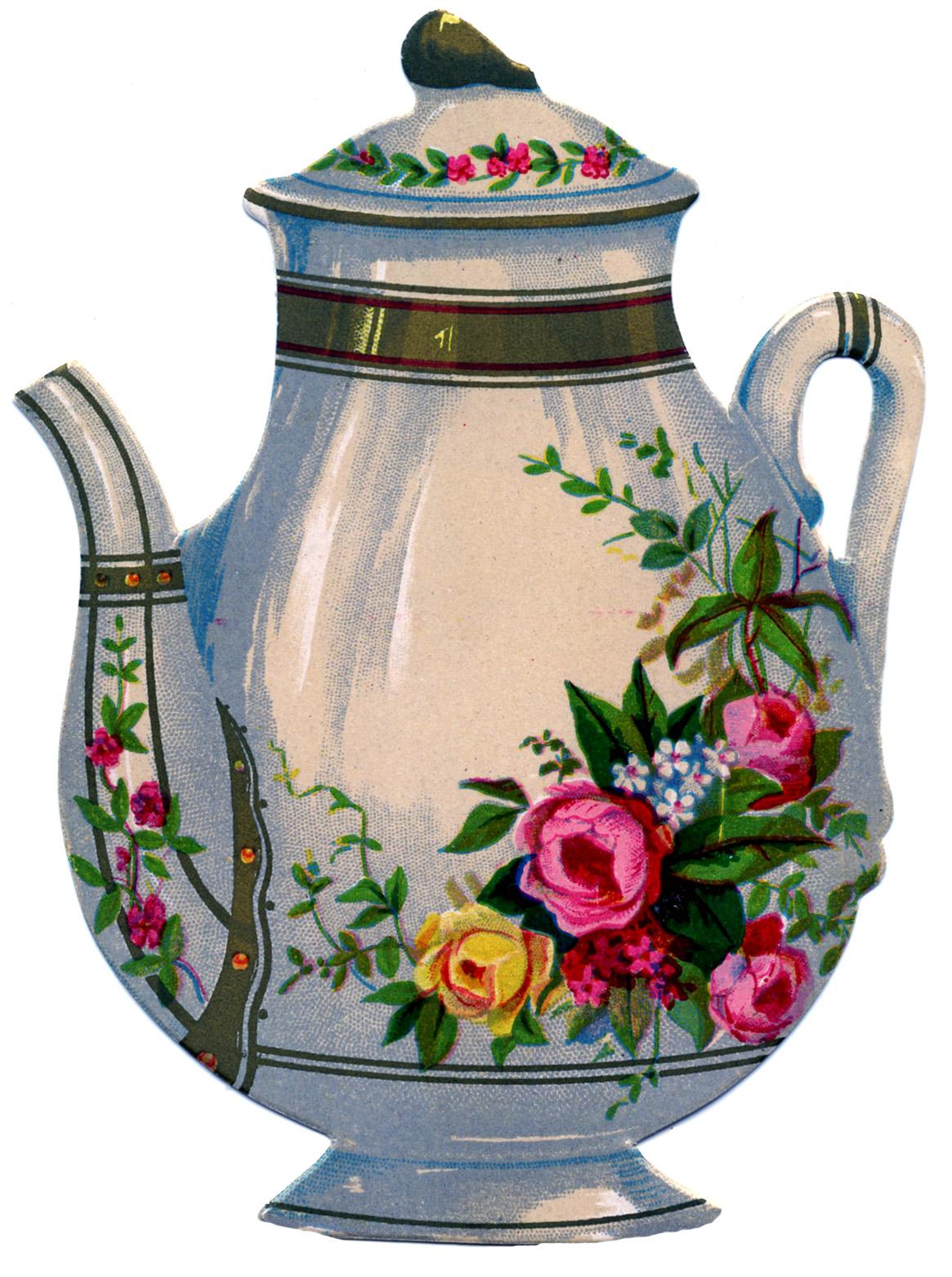 Floral clipart teapot Teapot Floral Victorian The Floral