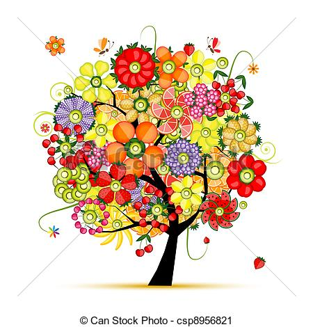 Floral clipart tree Tree floral made Flowers of