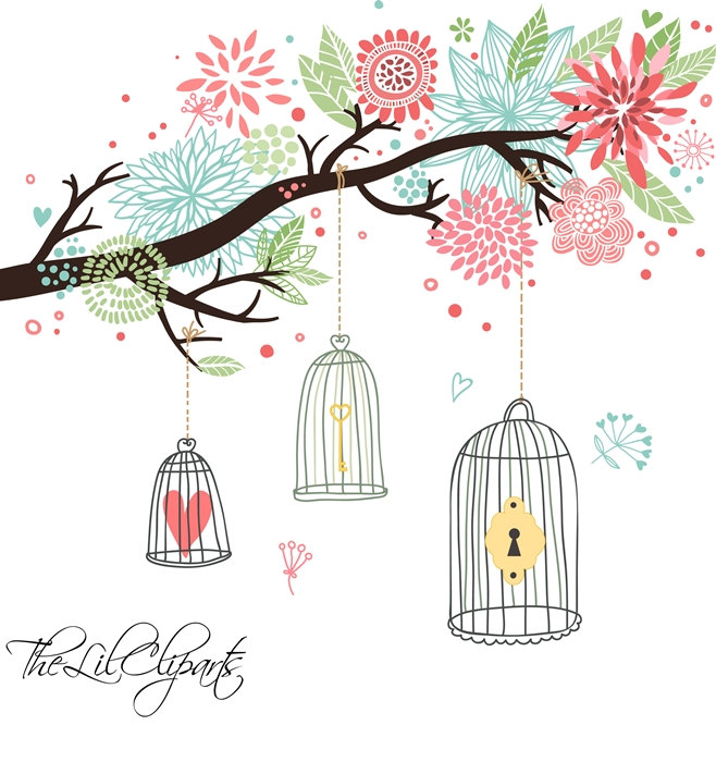 Floral clipart tree Is file digital Scrapbook Clipart