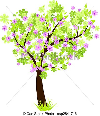 Floral clipart tree Beautiful floral with leaves tree