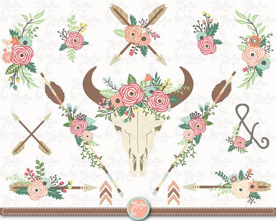 Floral clipart tribal Art: horns clip clipart clip