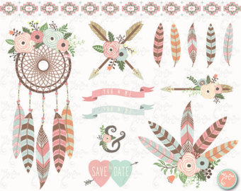 Floral clipart tribal