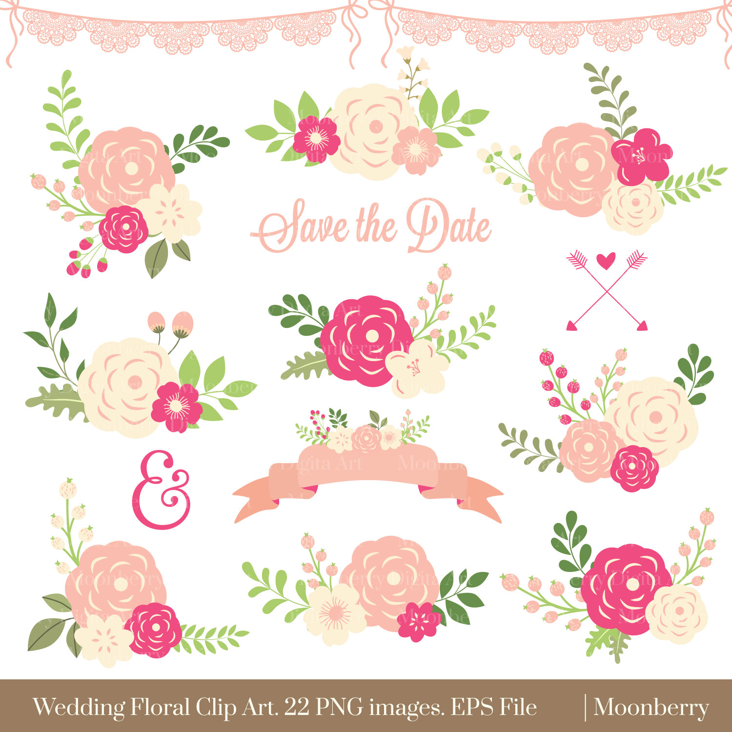 Rustic clipart wedding floral Posies SALE WEDDING File FLORAL